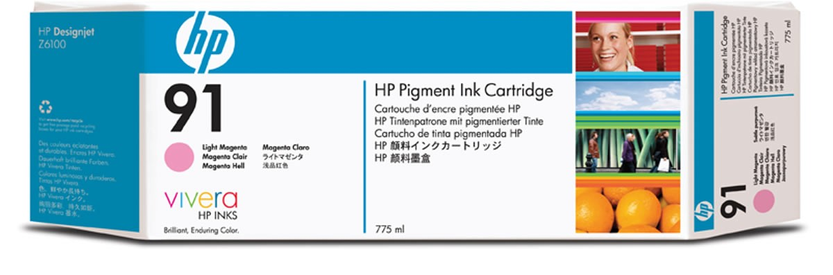 HP 91 775-ml Pigment Light Magenta Ink Cartridge C9471A