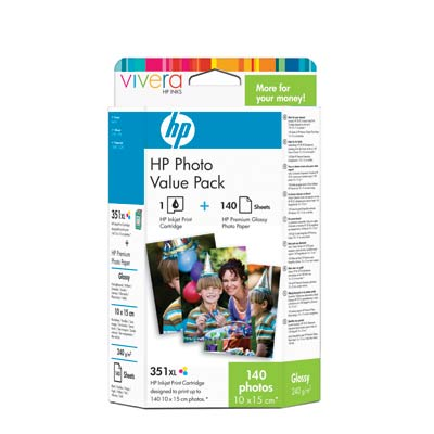 HP 351XL Photo Value Pack with Vivera Inks-10 x 15 cm/140 sht