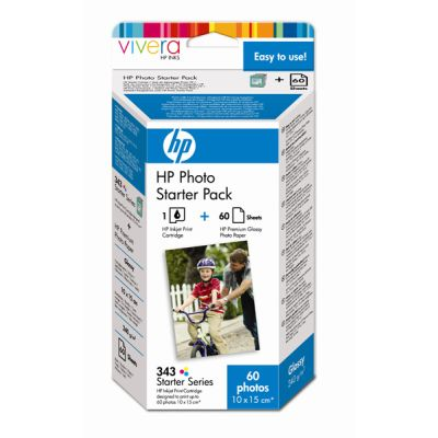 HP 343 Photo Starter Pack/1 Inkjet Print Cartridge/60 sht Premiu